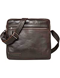 LEADERACHI Leather Brown Unisex Crossbody Messenger Bag