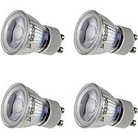 SEBSON® 4x GU10 bombilla 3W LED (Equivale de 20W, Calido Blanca, 250lm, 36º, 230V, ø35x47mm)