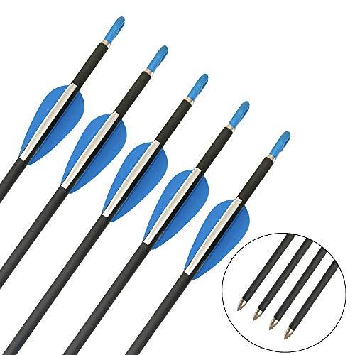 ZSHJG Carbonpfeile für Bogenschießen 32 Zoll Jagdpfeile Spine 1200 Bogenpfeile mit Fester Pfeilspitze für Compound und Recurve Bogen Pfeile für Bogensport (12pcs)