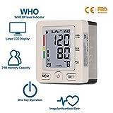 Blutdruckmessgerät Handgelenk Vollautomatische professionelle Blutdruk-und Pulsmessung 2 * 120 Speicherplätze, LCD großem Display (weiß)
