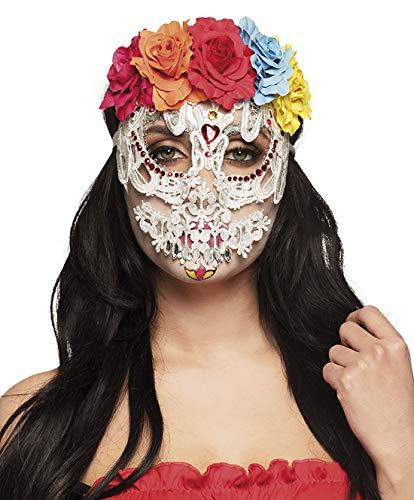 erdbeerclown - Kostüm Accessoires Zubehör Damen Halb-Maske Day of The Dead mit Rosen und Schleier-ähnlicher Maske, Half Mask Catrina Deluxe, perfekt für Halloween Karneval und Fasching, Weiß