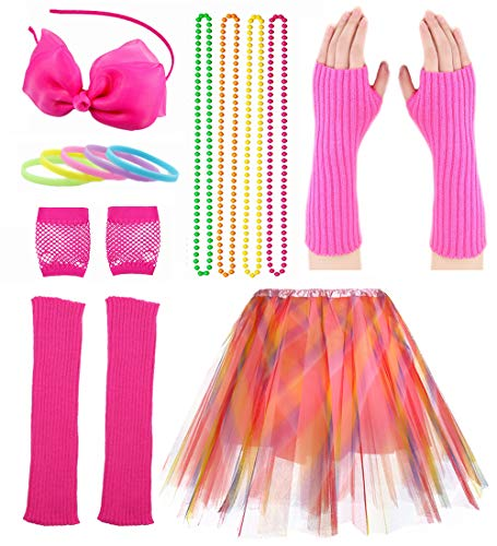 Kind Mädchen 80er Zubehör Set Tutu Rock mit Neon Armband Halskette Set (80er Jahre Pop Party Mädchen Kostüm)
