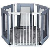 6 Seiten Baby Laufgitter Laufstall mit Tür | weich gepolsterte Bodenmatte Matratze | Textilien leicht abnehmbar waschbar ; Weiss