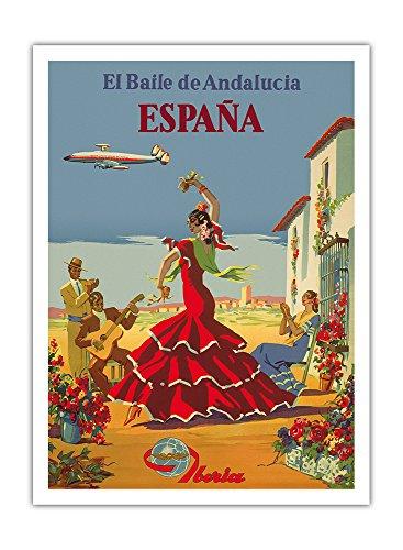 Preisvergleich Produktbild Spanien - Der Tanz von Andalusien - Iberia Fluggesellschaft - Flamenco-Tänzer - Vintage Retro Fluggesellschaft Reise Plakat Poster von Unknown c.1950s - Premium 290gsm Giclée Kunstdruck - 30.5cm x 41cm