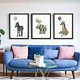 XWArtpic Kreative Cartoon Afrikanischen Tier Bunte Ballon Zebra Elefant Giraffe Kinderzimmer wohnkultur Wandkunst Poster leinwand malerei 30 * 50 cm