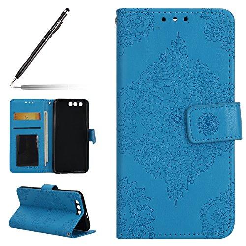 Uposao Kompatibel mit Handyhülle Huawei Honor 9 Leder Tasche Handytasche Retro Prägung Mandala Blumen Muster Lederhülle Flip Wallet Case Schutzhülle Ständer Klapptasche,Blau