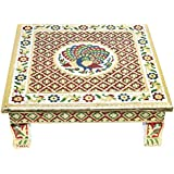 Storite Meenakari Wooden Chowki puja bajot for Home & Office Décor for Puja - 14x14x5 inch (Style 4)