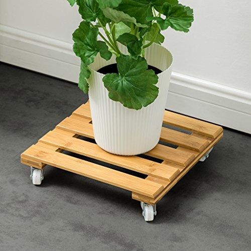 LOVELY Pot en bambou de rouleau de bambou sur le meuble mobile de jardin de fleurs de roues, 25 * 25cm