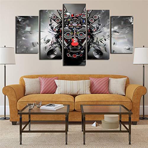 GIAOGE Gemälde Leinwand Gedruckt Poster Rockmusik Instrumente Dj Konsole Gitarre Kunst 5 Panel Wandmalerei Wohnkultur Pop Art Bilder Modular,40x60 40x80 40x100cm,Frame -