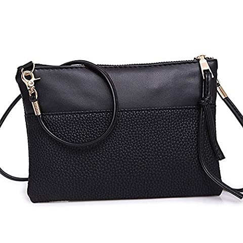 ESAILQ Sac à bandoulière femme sac à main fourre-tout sac à main Ladies (noir)