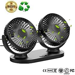 Ventilateur USB STLOVE Mini Fan Double Tête Rotation 360 ° Rotation Horizontale 180 ° 3 Vitesses Ventilateur Portable Convient pour Voiture/Tableau/Bureau/Camping/La Pêche ect