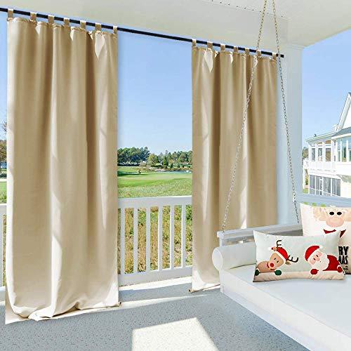 Clothink Outdoor Vorhänge mit Steckverschluss 132x245cm Beige -Easy Hang on - Winddicht Wasserdicht...