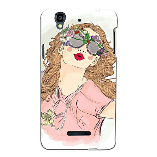 Bluethroat Pretty Girl Wearing Floral Sunglasses Back Case Cover for YU Yureka Plus :: Yu Yureka Plus YU5510A