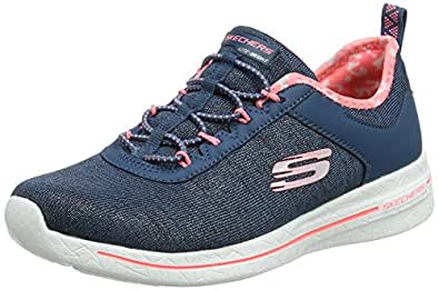 Skechers Women's Burst 2.0-Sunny Side Trainers, Blue (Navy/Pink), 2 UK 35 EU