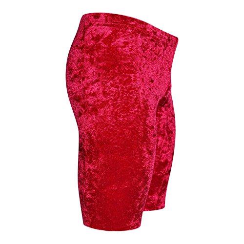 Turnhose 1/2 Leggings aus bi-elastischen Crash Samt Farbe dunkelrot, Größe 128