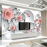 Mbwlkj 3D Tapete Benutzerdefinierte 3D Kreis Rose Wandbild 3D Wohnzimmer Schlafzimmer Tv Tapeten Wohnkultur Tapete-300cmx210cm