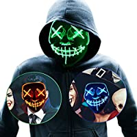 CHWARES Halloween Light Up Mask with EL Wire, Scary LED Mask for Halloween Party Cosplay Supplies Halloween Costume Masquerade Party(Green)