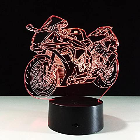 ZUIZU Motorcycle 3D Colorful Night Light LED Touch Switch USB Gradient Illusion Desktop Table Lamp Ambience