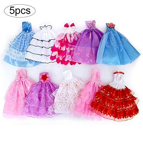 best cheap 5b24f 0ff64 5 PCS Doll Clothes partito del vestito veste regolato l'attrezzatura da  sposa in raso giornalieri causali vestiti Outfits Bundle Abiti  Abbigliamento ...