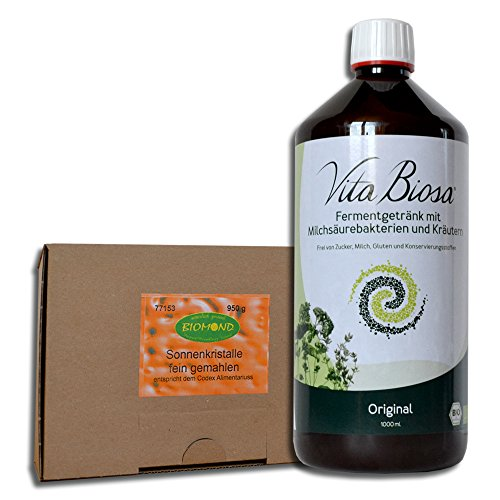 Preisvergleich Produktbild VITA BIOSA Probiotic Kräuter 1000 ml Original + Sonnenkristalle,  Kristallsalz,  Halit Fein 950 g GRATIS / Vorteilspack / Fermentgetränk / Milchsäurebakterien / Sole