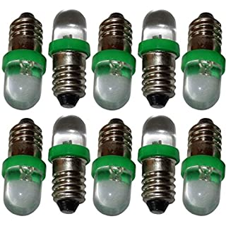 Aerzetix: 10 Pcs Set of E10 LED 12V Light Bulbs, Green Lighting Lamps