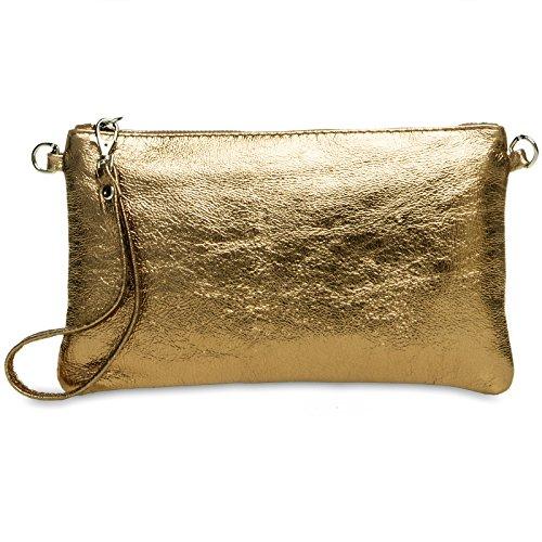 CASPAR TL717 Damen Leder Clutch, Farbe:bronze;Größe:One Size (Handtaschen Gold Leder Clutch Aus)