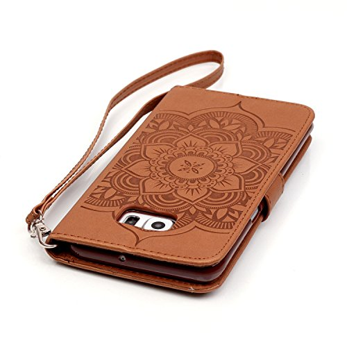 C-Super Mall-UK Apple iPhone 6 Plus / 6s Plus 5.5 Inch hülle: Qualität Exquisite Geprägte Traumfänger und Blumenmuster PU-Leder-Mappen-Standplatz -Schlag-hülle für Apple iPhone 6 Plus / 6s Plus 5.5 In brown