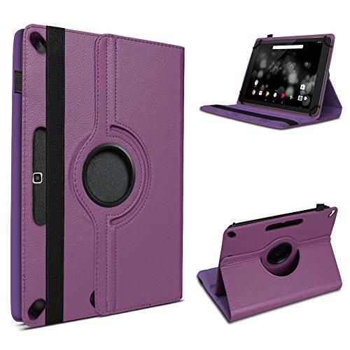 UC-Express Robuste Schutzhülle für Ihr Amazon Fire HD 10 Tablet aus Kunstleder mit Standfunktion 360° Drehbar Hülle Schutztasche Ständer Tasche Cover Case Etui, Farben:Lila