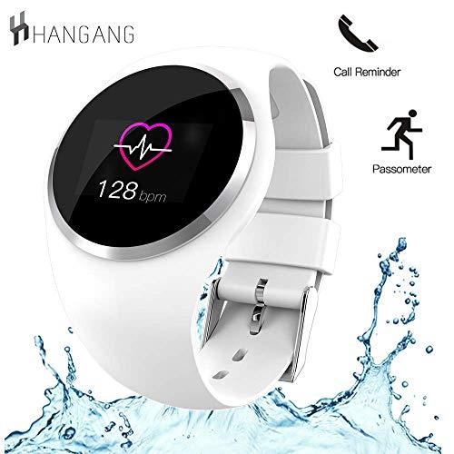 Hangang Health Fitness Tracker mit Pulsmesser und Blutdruck Sport Smart Armband Pedometer Smart Armband Bluetooth Smart Watch für iOS iPhone Android Samsung Handys (schwarz)