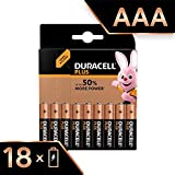 Duracell Plus, lot de 18 piles alcalines Type AAA 1,5 Volts LR03 MN2400 (visuel non contractuel)