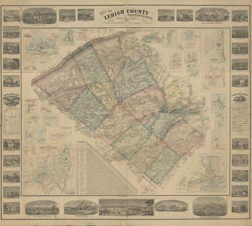 Historic Map, LLC 1862 Karte von Lehigh County, Pennsylvania : aus Originalumfragen - Größe: 22 x 61 cm - fertig zum Einrahmen - Leh