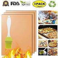 Cobre Grill Mat Horno Liners Baking Mats–100% antiadherente mejor barbacoa alfombrillas para parrillas de carbón eléctrico Gas reutilizable y fácil de limpiar. Accesorios–aprobado por la FDA PFOA libre Set de 3
