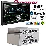Skoda Octavia 2 1Z - Pioneer FH-X840DAB 2-DIN - Bluetooth | DAB+ Digitalradio | CD | USB | Spotify für iPhone | Autoradio - Einbauset