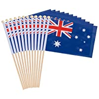 ‏‪12-Piece Australia Stick Flags - Australian Hand-held Flags, Polyester Country Stick Flag Banners, Decorations for Parties, Parades, Sports Events, and International Festivals- 5.5 x 8.3 Inches‬‏