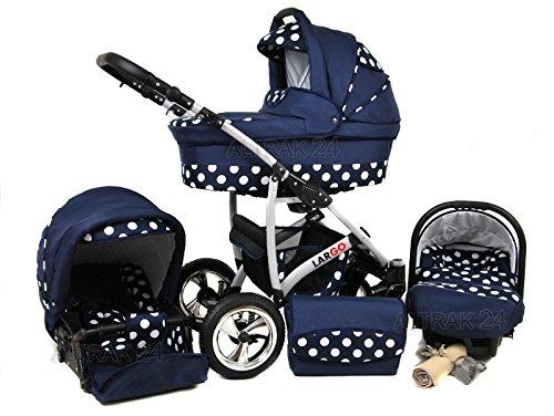 +++ SALE Raff Largo System Kinderwagen Babywagen Buggy, Autositz Kinderwagen System 3 in1 + Wickeltasche + Regenschutz +Insektenschutz (Set 3w1: Wanne + Sportsitz + Babyschale, navy blue-circles)