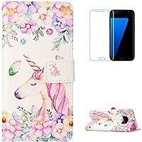 KaseHom Galaxy S8 Plus + [Protector de pantalla] Dibujos animados Estuche billetera de cuero Folio con ranuras para tarjetas y Cubierta Flip magnética Slim Anti-Arañazos Case - Flores Unicornio