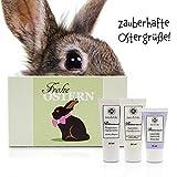 Leo & Lilo Handcreme Geschenkset, hübscher Geschenkkarton mit 3 verschiedenen Handcremes in Reisegrößen, Motiv Frohe Ostern