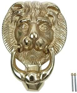Lion Head Georgian Style Solid Brass Polished Door Knock Knocker, 100 MM