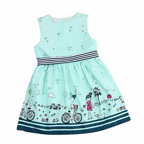 squarex Mädchen Kleid, Kinder ärmelloses Cartoon gestreiftes-Prinzessin, Kleid, Kinder, grün, 1-2 Jahre