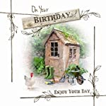 Potting Shed Wellies Chicken Barrow Design Male On Your Happy Birthday Card