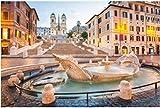 ZZXSY Jouets en Bois Puzzle 1000 Pièces Piazza De Spagna, Rome, Italie, Décor Puzzle Jouet en Bois Cadeau Unique Décoration Intérieure