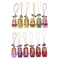 AFfeco Doll Keychain, Creative Wooden Russian Matryoshka Pendant Charm Key Rings For Car Handbag Ornaments Lovely Sweet Decorative Gifts