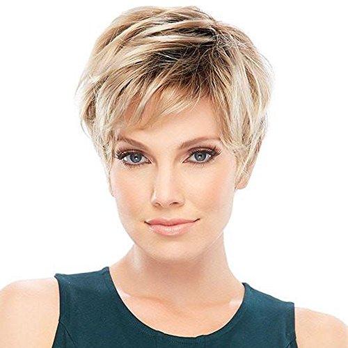 HAIRCUBE Charming Echthaar-Perücke für Frauen, kurzes blondes Haar mit schwarzen ()
