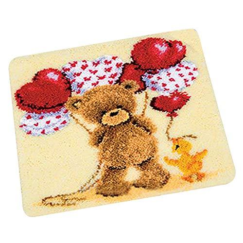 IPOTCH Knüpfteppich Formteppich für DIY Handarbeit Teppich mit schöne Bilder- Verschiedene Muster Auswahlbar - Spielzeugbär