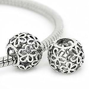 1 Distanziatori Perle Perline Traforato Fiore Argento antico Foro LargoB28751