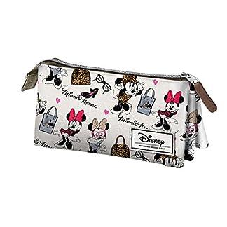 Disney Minnie Mouse Classic Minnie Estuche portatodo Triple, Color Blanco, 24 cm (Karactermanía 33602)