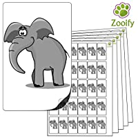 480x Elephant Stickers (38 x 21mm) High Quality Self Adhesive Animal Labels By Zooify.