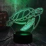 HLDWMX 3D illusione lampada luce notturna, Tartaruga di nuoto degli animali marini 16 cambia colore touch interruttore decorazione da tavolo lampade regalo di Natale con base in ABS e acrilico piatto