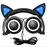 Foldable Kids Headphones, Cuitan Over-Ear Cosplay Earphones with Glowing Cat Ears Gaming Wired