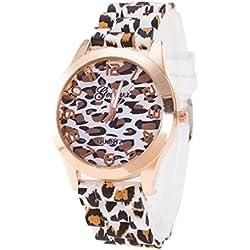 Relojes Pulsera Mujer, Xinan Unisex Ginebra Leopardo Silicona Jalea gel Reloj de Cuarzo Analógico (Blanco)